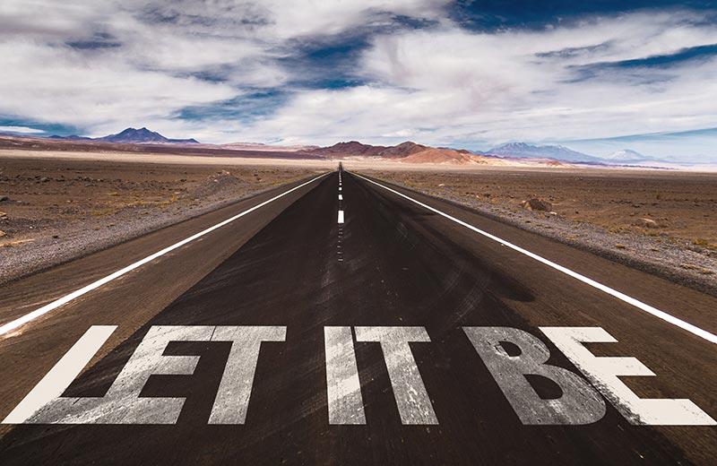 'Let it Be' written on road
