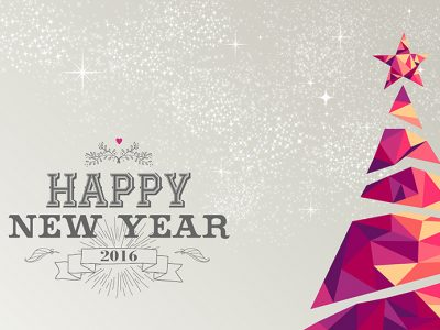 Happy New Year 2016 - Text with Christmas Tree Image