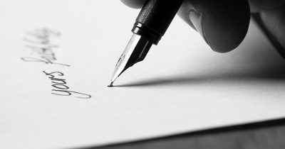 Letter being written with a fountain pen