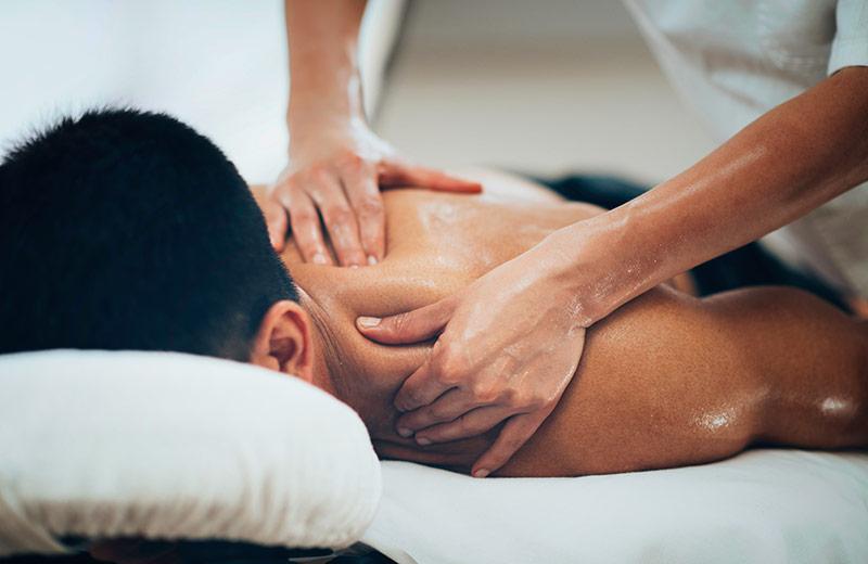 Sportsman receiving aromatherapy sports massage