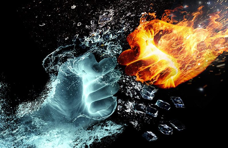 The point at which life was created and the beginning of the Norse Gods: Two fists punching one another, one of ice representing Niflheim and one of fire representing Muspelheim