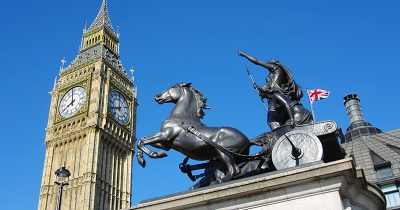 Stature of Boudicca in London, Big Ben is in the Background