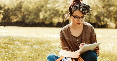 Woman using journaling to combat depression