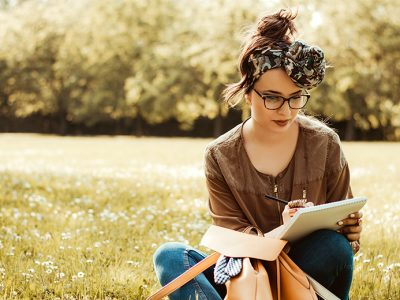 Woman using journaling to combat depression