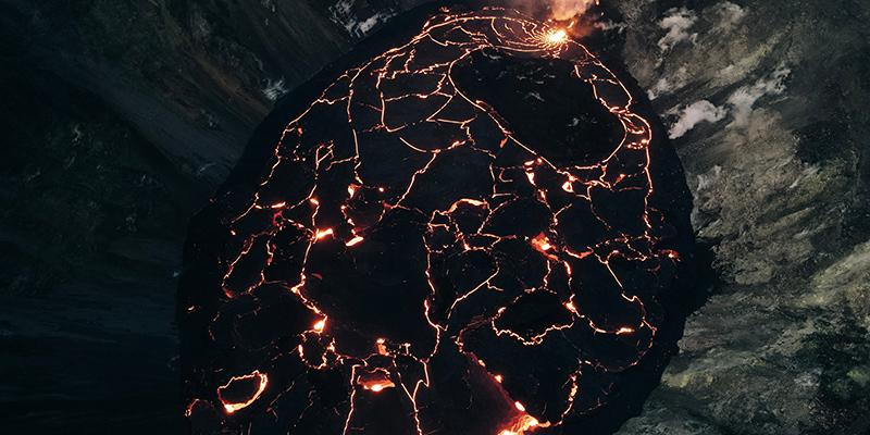 Kilauea Volcano in Hawaii Volcanoes National Park on the Big Island