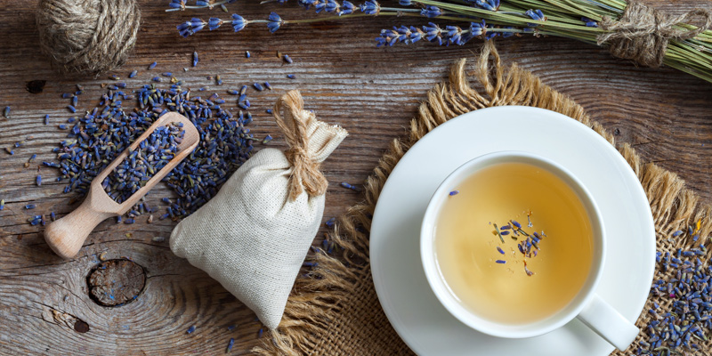 How to care for lavender when it is dried and how to use it in sachets and herbal teas illustrated in this flat lay