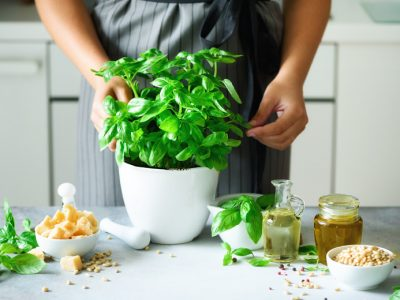 A woman using homegrown basil to prepare for one of her spring recipes in the kitchen