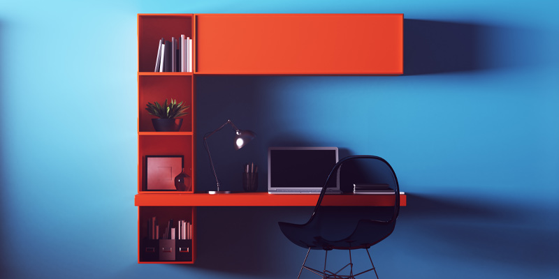 An image of a fun, bright home office for a young person working from home.