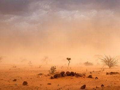 Dramatic dusty sandstorm illustrating the climate changing