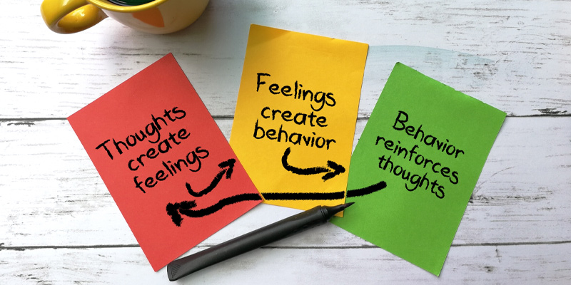 A brief explanation on post-it note about how CBT for depression works.