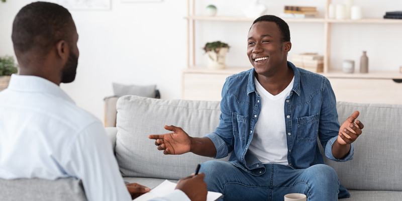 A man in talking therapy like CBT for depression.