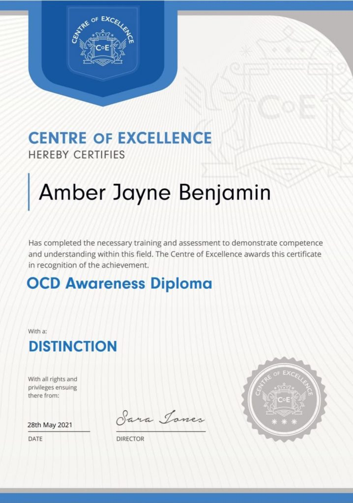 The OCD Awareness diploma certificate in transformative education Amber achieved which helped her manage her obsessive-complusive disorder.