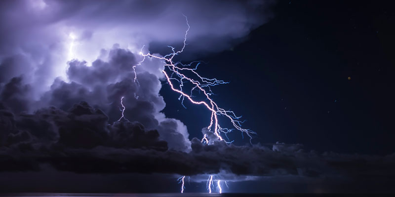 Lightening and storms in example of extreme weather.