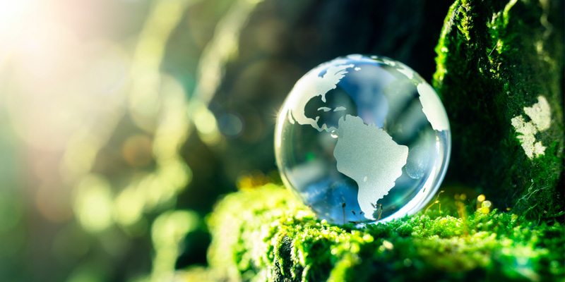 Glass globe in nature conceptually representing the environment and conservation of the earth's biomes.