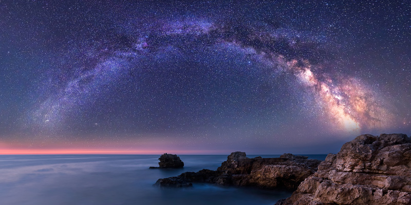 Long exposure picture of a night landscape with the Milky Way Galaxy above the Black sea.