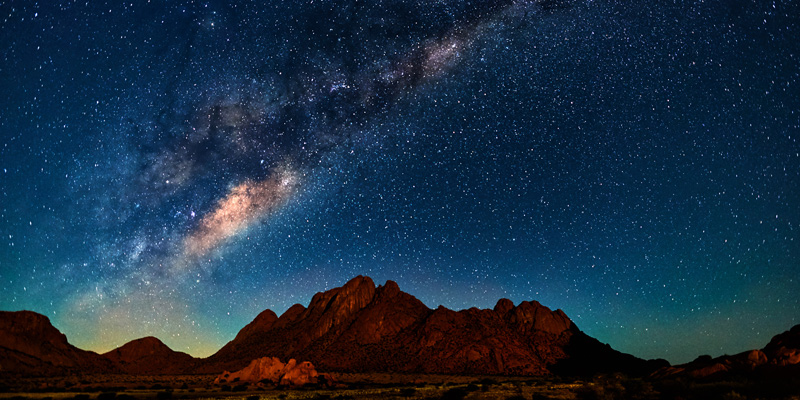 Night landscape with the Milky Way in Namibia in the Spitzkoppe area.