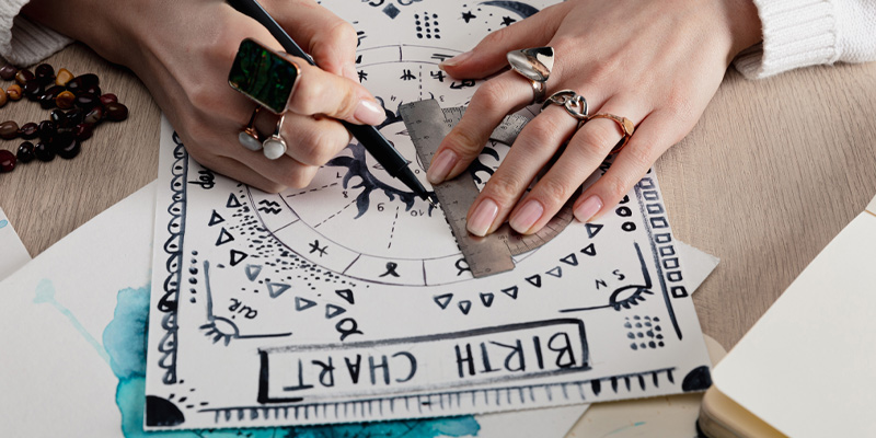 Cropped view of astrologer drawing birth chart with watercolour drawing on table.