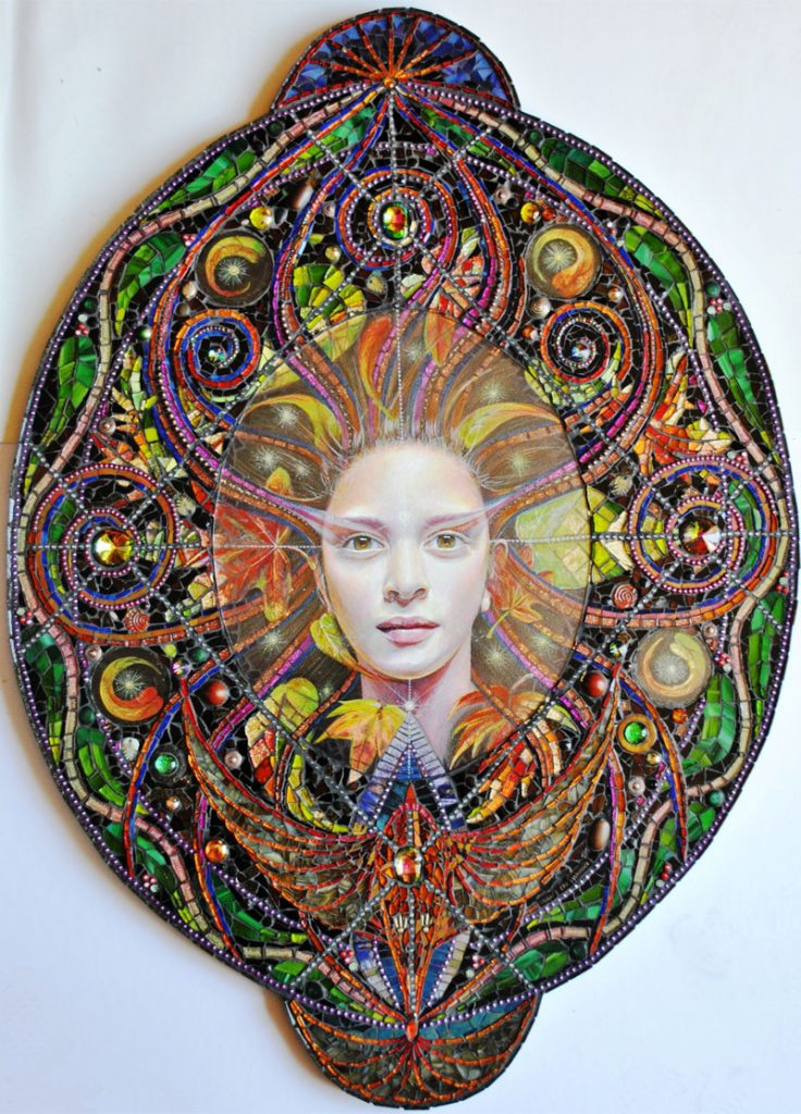 An artwork by Nikki Whitlock depicting a woman and sacred geometry including the Vesica Piscis.