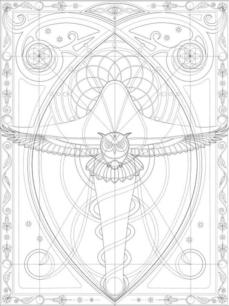 A symmetrical sketch of an owl drawn using sacred geometry.