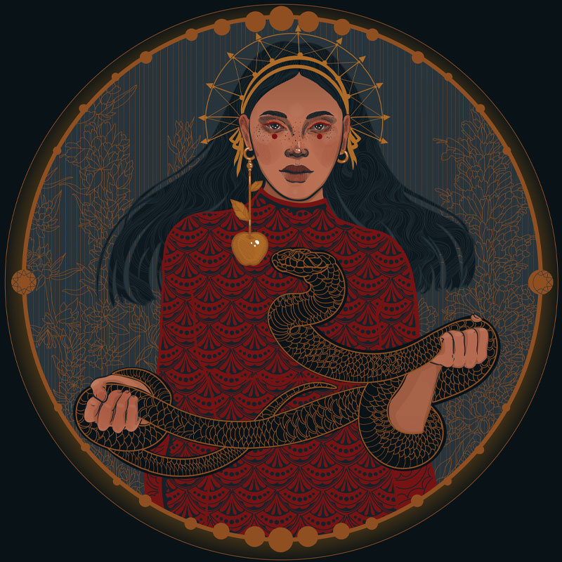 A graphic of a goddess like Lilith with a snake in her hands.