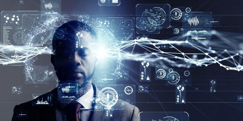 Concept art of a man utilising his mind in memorisation practices.