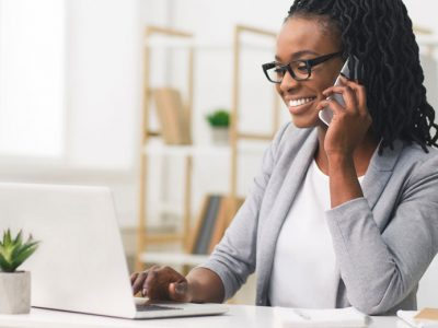 A woman on the phone hoping to start a business.