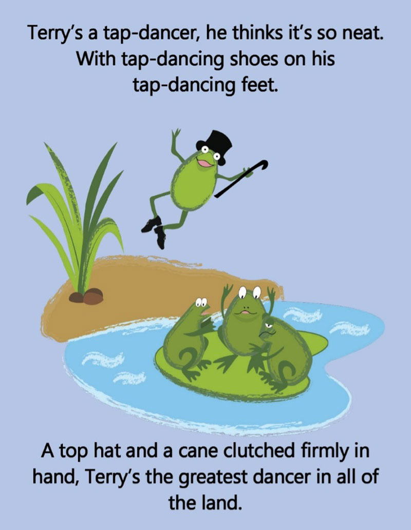 A page from Keep The Tap On, the work of Paul Barry who spends his time writing children's books.