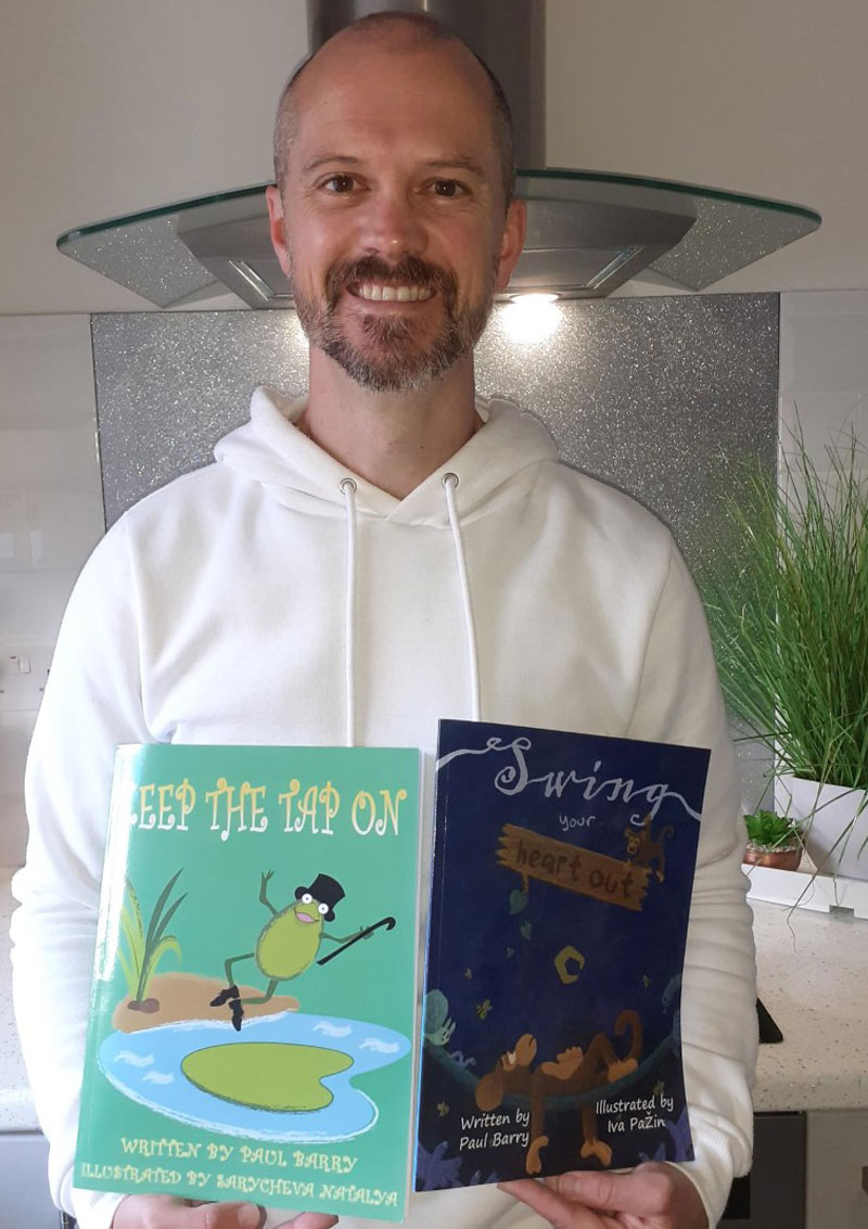 Paul Barry pictured here having completed is achievement in writing children's books for young people.