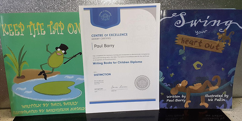 Paul Barry's achievement in writing children's books displayed here with his diploma and two published books.
